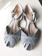 Next Ladies Women Silver Glitter Sandal Flip Flop Flat Shoe Pump Size 4 37