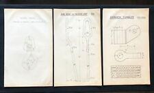 3 X Harland & Wolff Belfast 1930's Drawings SWIVEL HOOK BOX KEY TUMBLER - RF07