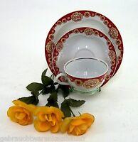 Sammelgedeck Lettiner Porzellan 3tlg. knallrot mit Blumendekor & Goldrelief