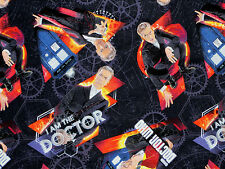 FAT QUARTER  DOCTOR WHO I AM THE DOCTOR COTTON FABRIC  VAN GOGH SPRING CREATIVE