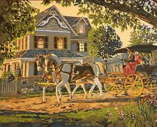 Victorian House with Horse Carriage Wall Painting. Handmade Acrylic/Oil Painting