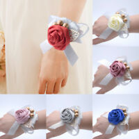 1PC Silk Wristband Hand Flowers Bride Bridesmaid Wrist Corsage for Wedding