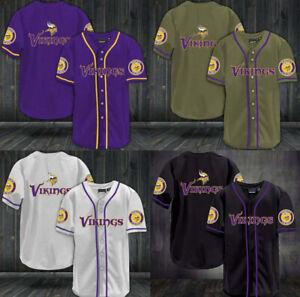Minnesota Vikings Mens Shirt Summer Football Button Down Shirt Football Tops New