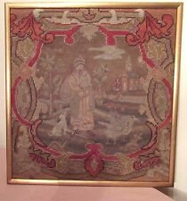 antique 1700's hand made embroidered figural needlepoint tapestry sampler art