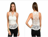Women Sleeveless Ivory Fashion Lace Peplum Top Blouse Shirt Sleevelss BodyCon