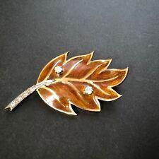 Enamel and Diamond Leaf Brooch Vintage Dutch 14K Yellow Gold