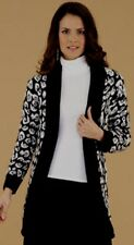 SIZE : SMALL (UK 10-14) BY TG Leopard Animal Print CARDIGAN BLACK/WHITE BNWT