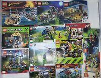 LEGO INSTRUCTIONS MANUALS LOT 14 Total Jurassic Park Chima Potter Minecraft