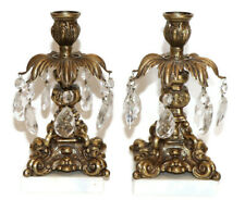 """Vintage Gold-tone 9"""" T x 5"""" W Candle Sticks with Crystals - Pair"""