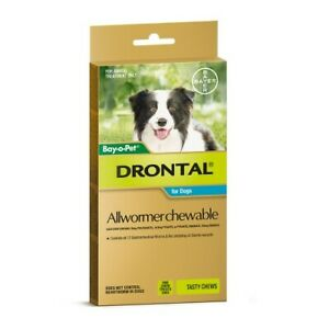 Drontal Allwormer Chew Medium Dogs 10kg Roundworm Hookworm Whipworm Tapeworm