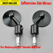 "2x Black Round Rearview Mirror 7/8"" Bar End for Harley Cafe Racer Bobber Cruiser"