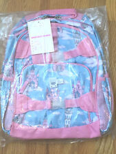 Pottery Barn Kids LARGE MACKENZIE Glitter Castle Pink and Blue Backpack NEW NWT