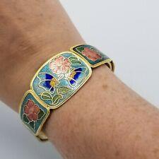 Vintage Cloisonne Enamel Floral Butterfly Clamper Hinge Bangle Bracelet