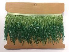 "5 Yard-6"" Lime/Emerald Green Ombre BUGLE Beaded Fringe Chevron Lamp Costume Trim"