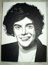 Canvas Painting One Direction Harry Styles B&W 16x12 inch Acrylic