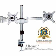 MDM05 Double Twin Monitor Arm Desk Stand Mount w/ Adjustable Height & Brackets