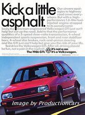1986 VW Volkswagen GTI - Kick -  Original Advertisement Print Art Car Ad J713