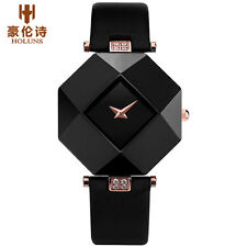 HOLUNS Ceramic Octagon Crystal Genuine Leather Strap Women Quartz Wrist Watch