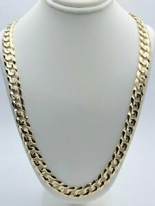"""14k Yellow Gold Solid Curb Cuban Link Chain Necklace 24"""" 9mm 51.5 grams"""