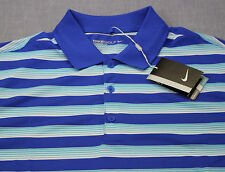 Nike Golf Logo Mens Blue & White Striped Dri-Fit Stay Cool Polo Shirt NWT M  $65