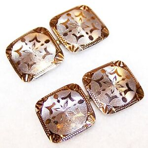 Antique ART DECO Two Tone 14K YELLOW & WHITE GOLD Engraved French Cufflinks 4.0g