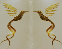 Guitar Headstock Pickguard Hummingbird Decal OEM, 0.4% 22k GOLD 1.1 Inch Luthier