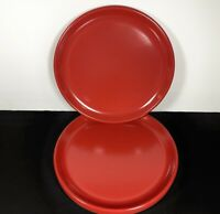 "VINTAGE Rubbermaid Melamine Red 10"" Dinner Plates 3840 Lot of 6"