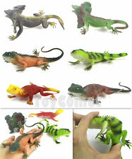 Set of 6 Different Lizards Reptiles Realistic Rubber Plastic Animal Figures Toy