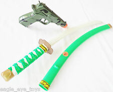 Toy Samurai Green Ninja Katana Sword & Camo 9MM Pistol Toy Cap Gun Set