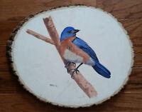 Blue Bird 1, Wildlife, Original Acrylic Painting on Wood, Signed, Art Deco
