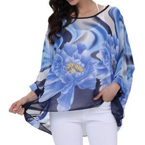 Vintage Holiday Chiffon Cover Up Kimono Sleeve Blouse Tunic Tops Loose Plus Size