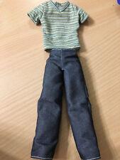 Barbie My Scene Ken River Doll Sage Striped T-Shirt Denim Pants Outfit Cloth
