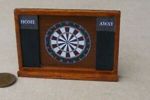 1:12 Scale Stained Wooden Dart Board Tumdee Dolls House Pub Games Room Accessory