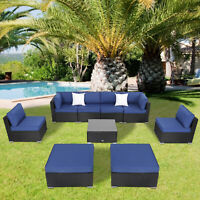 9 PCS Outdoor Patio Furniture Set Wicker Sofa Chairs Black Rattan Thick Cushion