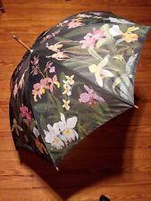 "Vintage Umbrella Hawaiian Flowers 41"" Diameter Salamander 1992 Wood Handle"