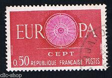 1 FRANCOBOLLO FRANCIA EUROPA CEPT CARMINIO-LILLA 1960 usato