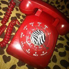 VINTAGE Bright RED Desk Rotary TELEPHONE Retro ART DECO Pop Culture AMERICANA