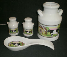 Cow Design on Ceramic Cream Cans 4 pc Kitchen set  Tool Holder, Spoon Rest, S&P