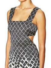 NWT $1k Suno Cut Out Open Back Sheath Midi Dress 2 Black White Designer Backless