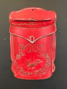 Red Wall mail box Mounted Embossed Metal Vintage Tin Post Box