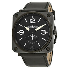 Bell and Ross Aviation Black Dial Black Leather Mens Watch BRS-BL-CEM-BKPAT