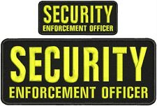 security enforcement officer embroidery patch 4x10 2x5 hook on back  blk/yellow