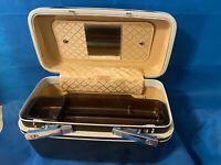 Vintage Samsonite Sentry Cosmetic Train Case Black Hard Luggage W/ Key And tray