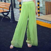 Women high waist flared palazzo casual pants harem trousers chiffon maxi