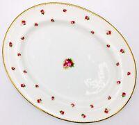 Royal Doulton BIRKS E2818 Oval SERVING PLATTER - Pink Roses Gold Trim - EVC