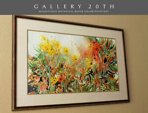WOW! RARE ORIGINAL RAYNA WATERCOLOR PAINTING! INTERIOR DECORATOR FLOWERS ART VTG