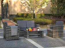 4 Pieces Outdoor Patio Furniture Sets Sectional Sofa PE Rattan Chair Wicker Set