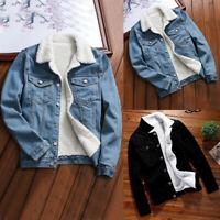 Womens Autumn Winter Denim Upset Jacket Vintage Long Sleeve Loose Jeans Coat USA