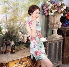 Luxurious Mint Peony Floral Elegant Chinese Short Dress Cheongsam Qipao lcdress6