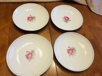 "Set of 4 Imperial Rose Silver-Rim Fine China 8"" Dinner Plate Dish 6702"